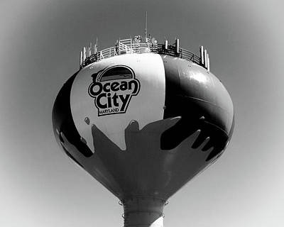 Photograph - Beach Ball Water Tower In Ocean City Black And White by Bill Swartwout