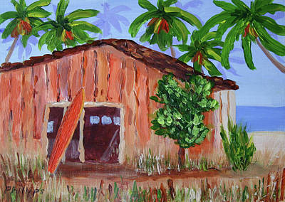 Surf The Rincon Painting - Beach Barn by Bob Phillips