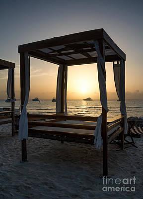 Beach Beds At Sunset - Isla Mujeres Art Print