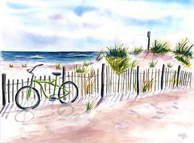 Painting - Beach Bike At Seaside by Clara Sue Beym