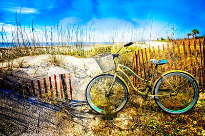 Driftwood Beach Fog Wall Art - Photograph - Beach Bike At The  Dunes by Debra and Dave Vanderlaan