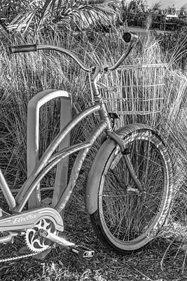 Photograph - Beach Bike In Black And White by Debra and Dave Vanderlaan