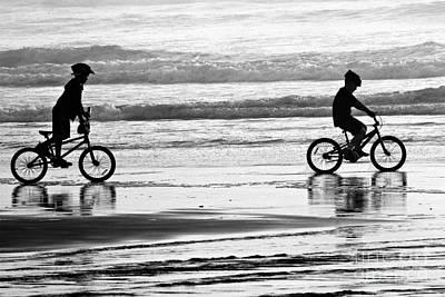 Photograph - Beach Biking - Black And White by Adam Jewell