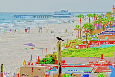 Beach Bird On A Pole Art Print