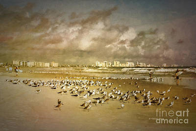 Beach Birds Surfers And Waves Art Print by Deborah Benoit
