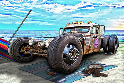 Beach Blanket Rat Rod Art Print