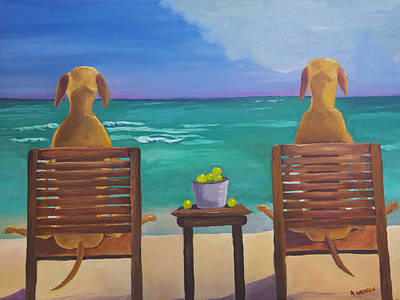 Sports Paintings - Beach Blondes by Roger Wedegis