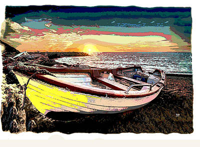 Sun Rays Mixed Media - Beach Boat by Charles Shoup