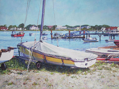 Platform Painting - Beach Boat Under Cover by Martin Davey