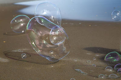 Two Waves Photograph - Beach Bubbles by Betsy Knapp