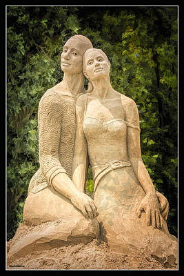 Photograph - Beach Buddies Blue Water Sand Sculpture by LeeAnn McLaneGoetz McLaneGoetzStudioLLCcom