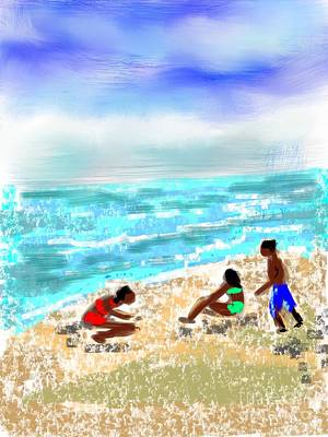 Beach Buddies  Art Print by Elaine Lanoue