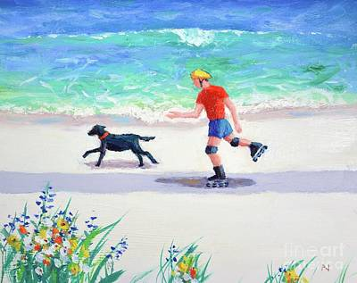 Roller Skating Painting - Beach Buddies by Philip Jones