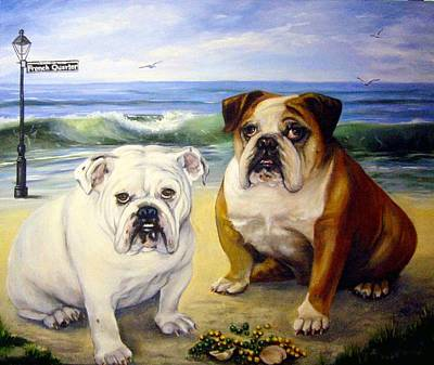 English Bull Dog Painting - Beach Bullies by Anne Kushnick