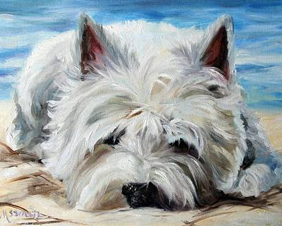 Westie Dog Painting - Beach Bum by Mary Sparrow