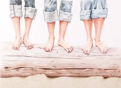 Denim Drawing - Beach Bums by Barbara Stanton