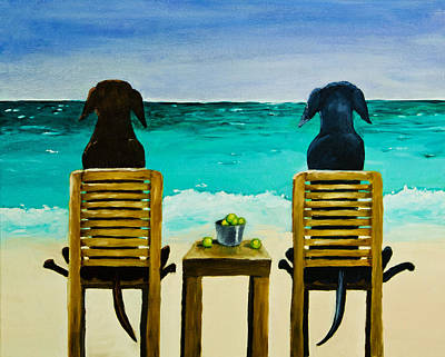 Chocolate Lab Painting - Beach Bums by Roger Wedegis
