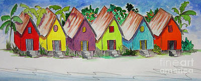 Tin Roof Painting - Beach Bungalows by Jan Prewett