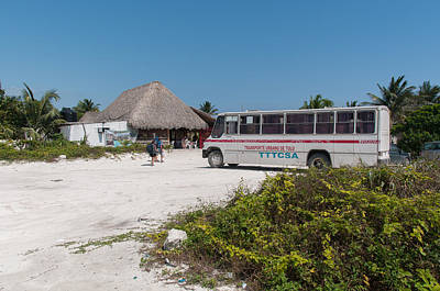 Digital Art - Beach Bus At Tulum Beach by Carol Ailles
