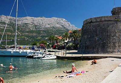 Photograph - Beach By City Wall Korcula by Sally Weigand