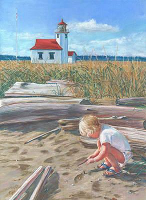 Beach By Lighthouse Art Print