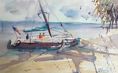 Beach Catamaran Original by Carolyn Zbavitel