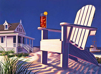 Beach Chair  Art Print by Robin Moline