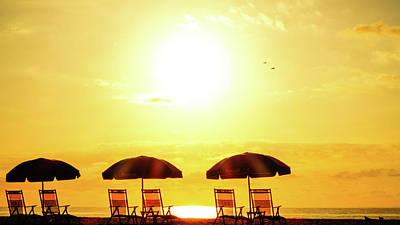 Photograph - Beach Chair Sunrise Delray Beach Florida by Lawrence S Richardson Jr