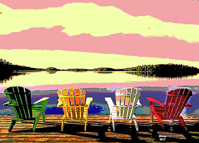 Mixed Media - Beach Chair Sunset by Charles Shoup