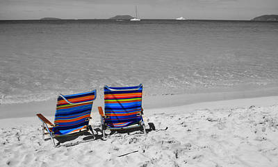 Best Ocean Photograph - Beach Chairs 2  by Perry Webster