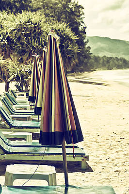 Photograph - Beach Chairs And Umbrellas by Georgia Fowler