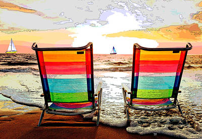 Beach Sunset Drawing - Beach Chairs At Sunset by Charles Shoup