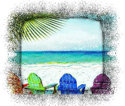 Digital Art - Beach Chairs In Paradise by Barbara Chichester