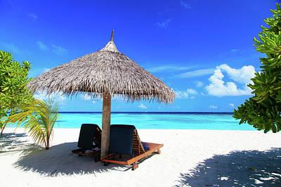 Beach Chairs Photograph - Beach Chairs On The Tropical Beach by NadyaEugene Photography