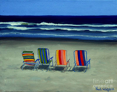 Shore Lines Painting - Beach Chairs by Paul Walsh