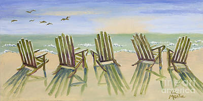 Mo Artist Painting - Beach Chairs Relaxing by Vic  Mastis
