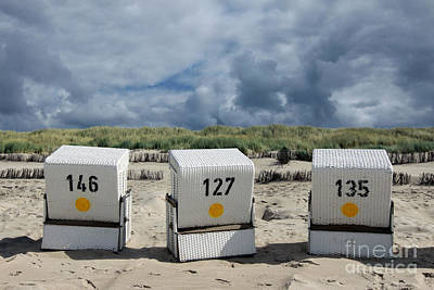 Beach Chairs Print by Steffi Louis
