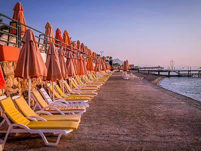 Turkey Photograph - Beach Chairs by Zina Stromberg
