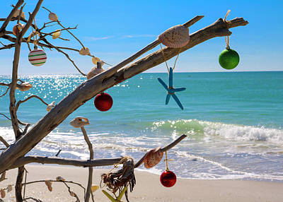 Typographic World Rights Managed Images - Beach Christmas Tree Royalty-Free Image by Robert Wilder Jr