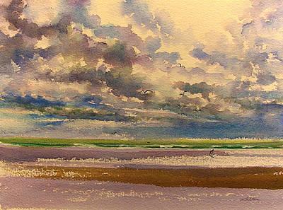 Beach Clouds Print by Julianne Felton