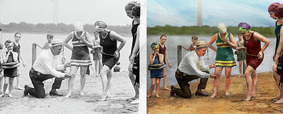 Photograph - Beach - Cop A Feel 1922 - Side By Side by Mike Savad
