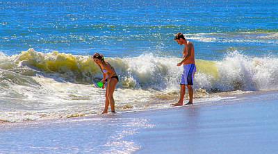 Spot Of Tea - Beach Couple at the Seashore by Bonnie Follett
