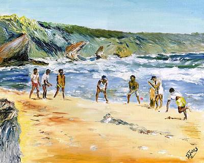 Painting - Beach Cricket by Richard Jules