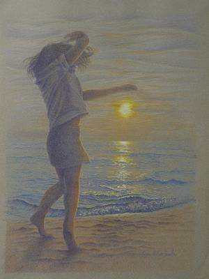 Dancing On The Beach Drawing - Beach Dance, Young Girl Dancing In The Sand On The Beach At Sunset by Terri Melia - Hamlin