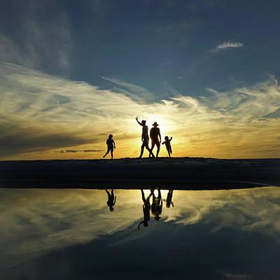 Beach Dancing At Sunset Art Print
