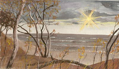 Beach Landscape Drawing - Beach Dawn by Bill Cope