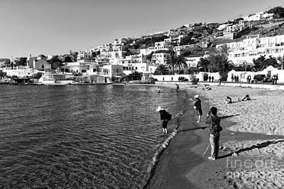 Photograph - Beach Day At Mykonos Mono by John Rizzuto