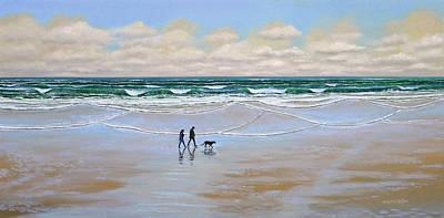 Beach Dog Walk Original by Frank Wilson