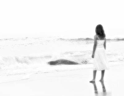 Youth Digital Art - Beach Dreams Black And White by Randy Steele