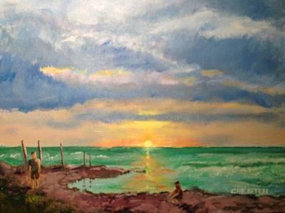 Beach End Of Day Art Print